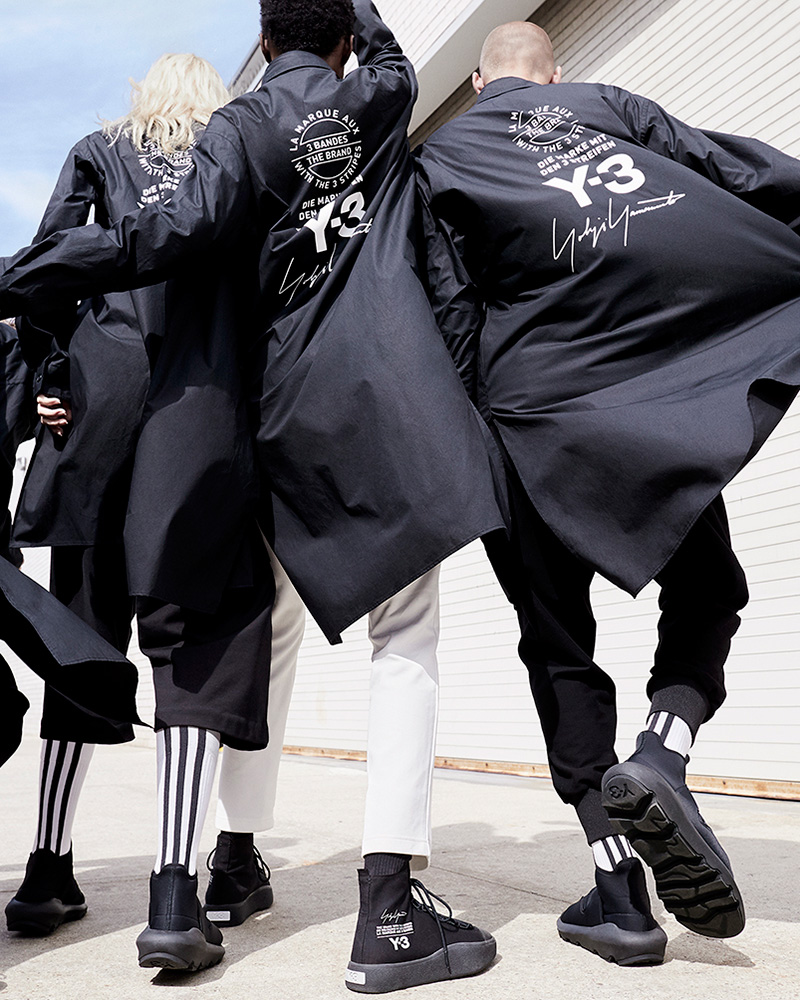 0876c309b072 The stark imagery complements the simple graphic emblazoned across the  collection  a stacked logo motif combining the Y-3 logo